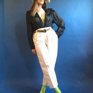90s vintage cream linen high waisted trousers